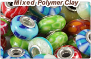 Different Styles European Style Polymer Clay beads in 925 Silver Double Core