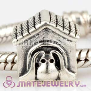 925 Sterling Silver Doghouse charm Beads fit European Beads