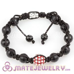 Fashion Sambarla type Bracelet with Faceted Black ABS and crystal plastic Beads