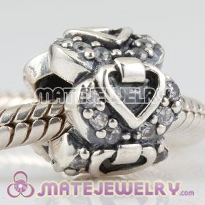 Sterling Silver elegant embrace heart charm beads with CZ stones