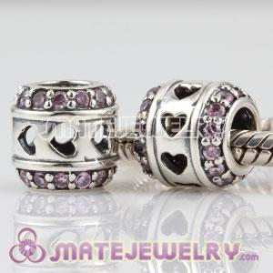 European Sterling Silver Tunnel of Love charm beads with pink CZ stones
