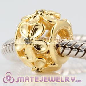 European gold plated sterling silver embrace Daisy cylinder charm Beads with olive green Stone