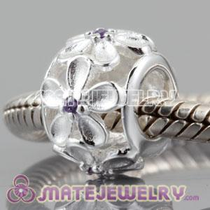 Authentic 925 sterling silver embrace Daisy cylinder charm Beads with violet Stone