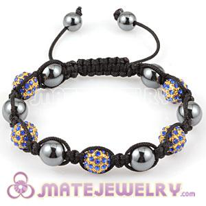 2011 fashion Sambarla Style Bracelets with Royal blue Crystal Alloy Beads and Hematite