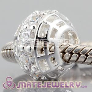 Authentic 925 sterling silver charm Beads with clear Diamond Around