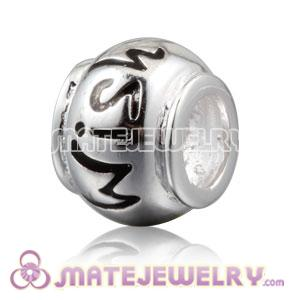 Shiny 925 Sterling Silver WISH charm Beads fits European bracelet