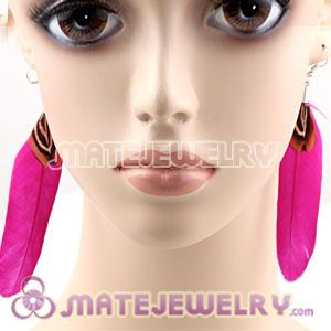 Natural Magenta And Grizzly Rooster Feather Earrings With Alloy Fishhook