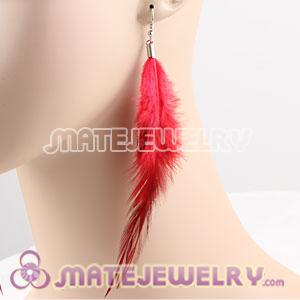 Red Handmade Rooster Feather Earrings With Alloy Fishhook