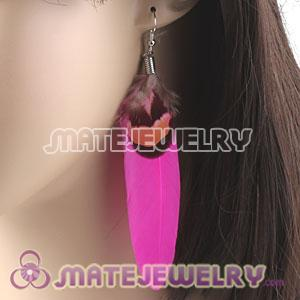 Cheap Pink And Grizzly Feather Earrings With Alloy Fishhook