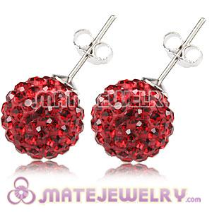 10mm Sterling Silver Red Czech Crystal Stud Earrings