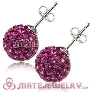 10mm Sterling Silver Fushia Czech Crystal Ball Stud Earrings