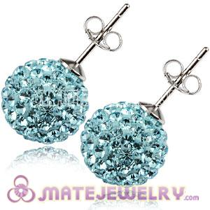 10mm Sterling Silver Cyan Czech Crystal Stud Earrings
