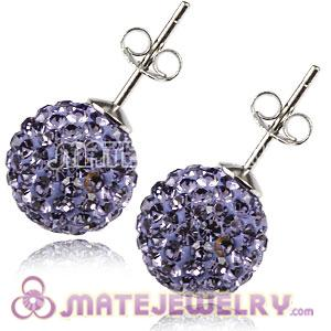 10mm Sterling Silver Purple Czech Crystal Ball Stud Earrings