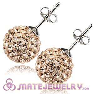 10mm Sterling Silver Pink Czech Crystal Stud Earrings