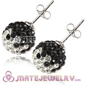 10mm Sterling Silver White-Black Czech Crystal Ball Stud Earrings