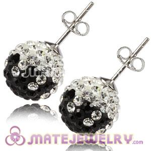 10mm Sterling Silver Black-White Czech Crystal Stud Earrings