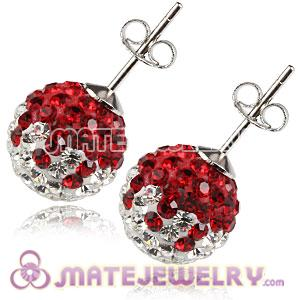 10mm Sterling Silver White-Red Czech Crystal Ball Stud Earrings