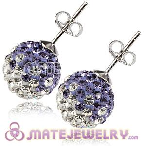 10mm Sterling Silver Black-Purple Czech Crystal Stud Earrings