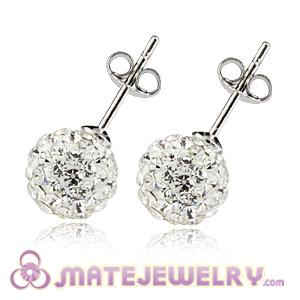 8mm Sterling Silver White Czech Crystal Stud Earrings