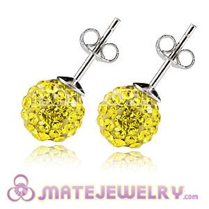 8mm Sterling Silver Yellow Czech Crystal Stud Earrings