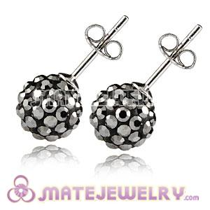 8mm Sterling Silver Grey Czech Crystal Stud Earrings