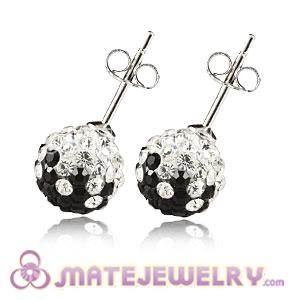 8mm Sterling Silver Black-White Czech Crystal Stud Earrings