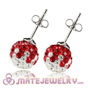 8mm Sterling Silver White-Red Czech Crystal Stud Earrings