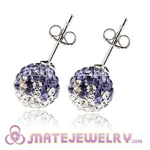 8mm Sterling Silver White-Purple Czech Crystal Stud Earrings