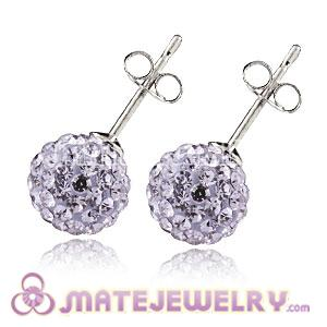 8mm Sterling Silver Lavender Czech Crystal Stud Earrings