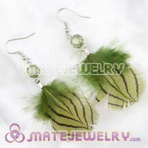 Cheap Green Tibetan Jaderic Indian Styles Feather Earrings