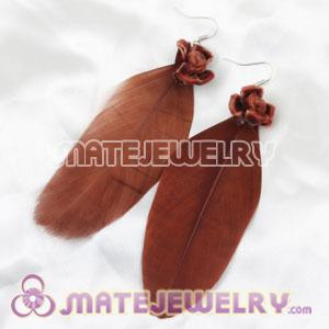 Cheap Coffee Tibetan Jaderic Indianstyles Flower Feather Earrings