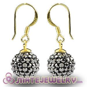 10mm Grey Czech Crystal Ball Gold Plated Sterling Silver Hook Earrings