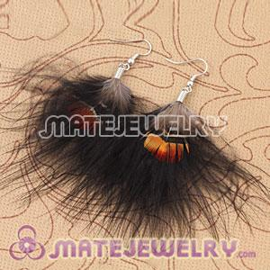 Long Black Tibetan Jaderic Bohemia Styles Shagginess Feather Earrings