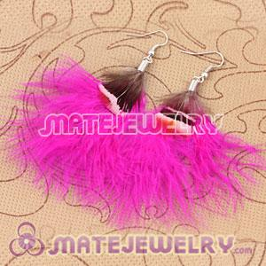 Long Pink Tibetan Jaderic Bohemia Styles Shagginess Feather Earrings