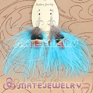 Long Blue Tibetan Jaderic Bohemia Styles Shagginess Feather Earrings