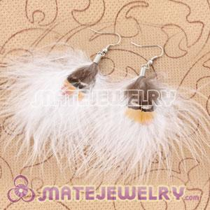 Long White Tibetan Jaderic Bohemia Styles Shagginess Feather Earrings