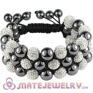 3 Row Pave White Czech Crystal Wrap Bracelet With Hematite