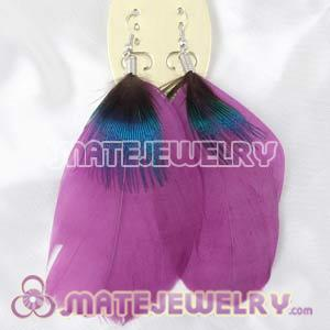 Long Purple Tibetan Jaderic Bohemia Styles Big Flake Feather Earrings