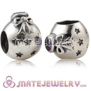925 Sterling Silver Christmas Ball Beads With Purple Stone