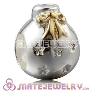 Gold Plated Silver Christmas Ball Beads With Clear Stone