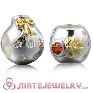 Gold Plated Silver Christmas Ball Beads With Orange Stone