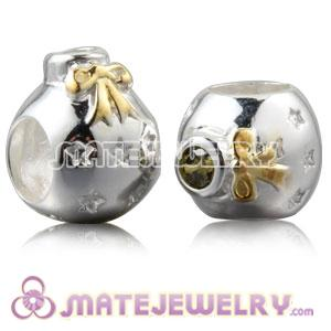 Gold Plated Silver Christmas Ball Beads With Olive Stone