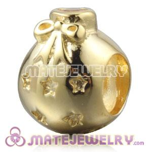 Gold Plated Silver Christmas Ball Beads With Pink Stone