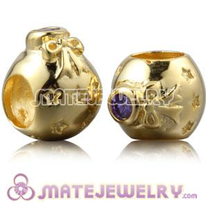 Gold Plated Silver Christmas Ball Beads With Purple Stone
