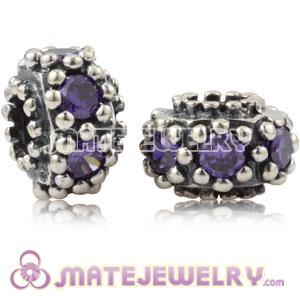 Antique Sterling Silver Charm Beads With Purple Stone