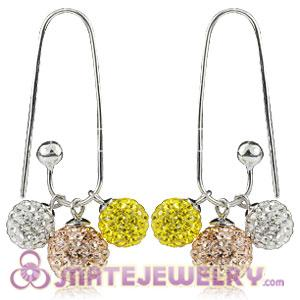 Czech Crystal Ball Sterling Silver Hook Earrings