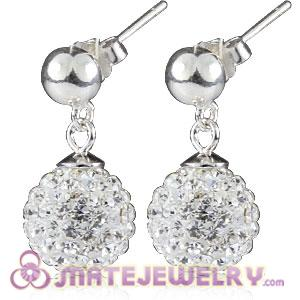 10mm Czech Crystal Ball Sterling Silver Dangle Earrings
