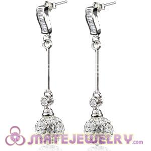10mm Czech Crystal Ball Dangle Earrings With Sterling Silver Inlay CZ Stone