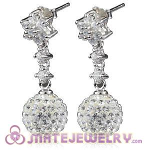 10mm Czech Crystal Ball Dangle Earrings With Sterling Silver Inlay CZ Hook