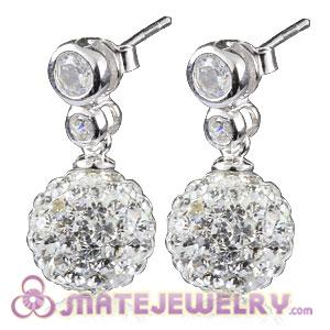 10mm Czech Crystal Ball Earrings With Inlay CZ Stone Sterling Silver Hook